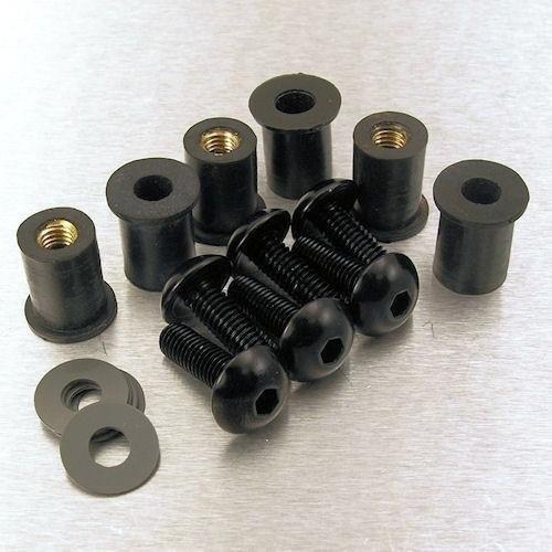 Pro-Bolt Windscreen Screw Kits - 5mm 4 Bolt Kit/Black (Screws Windscreen Bolt Pro)
