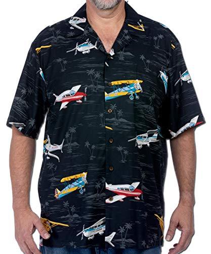Pilot Pilots Shirt Airplane Plane Aviator Flying Hawaiian Button Up, L Navy -