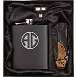 Monogram Engraved 7oz Stainless Steel Flask Funnel Rescue Knife Gift Box Set Custom Personalized