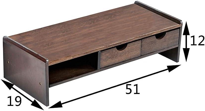 GX&XD Madera de bambú Elevador de Monitor,Protección del Cuello Equipo TV Soporte para Monitor con cajón Elevador Monitor Teclado Soporte Elevador-Q: Amazon.es: Hogar