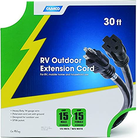 Camco 30 15-Amp Extension Cord Ideal for RV Mobile Home and Household Use 55142 Heavy-Duty