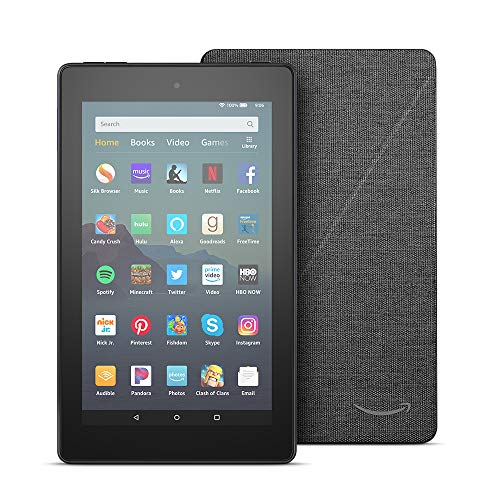 Fire 7 Tablet (7″ display, 16 GB) – Black + Amazon Standing Case (Charcoal Black)