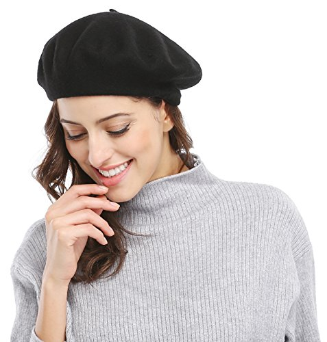Women Solid Color French Wool Beret, Black Color