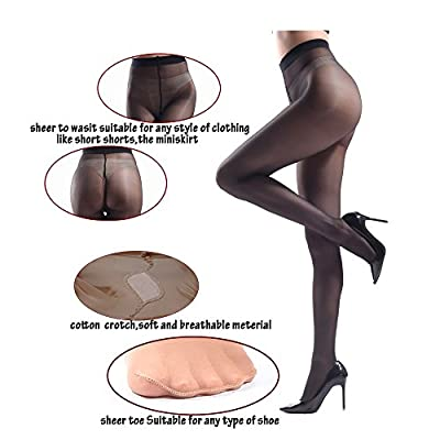 JIAYI Women's Sheer To Waist Sexy Silk Pantyhose Tights From S To XXXXL at Women's Clothing store
