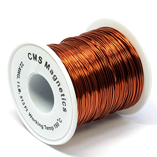 Coated Copper Wire 22 Gauge - 22 Gauge Magnet Wire for Science Projects | Enameled Copper Wire w/Working Temperature 356 F for School and Lab | One Pound
