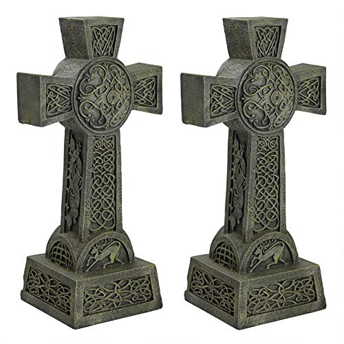 Design Toscano Donegal Celtic High Cross Statue: Set of Two - Irish Cross Statue - Memorial Statue