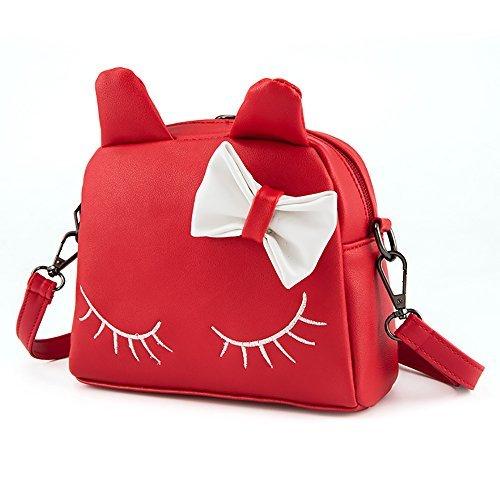 Pinky Family Cute Cat Ear Kids Handbags Crossbody Bags PU Leather Backpacks (red)