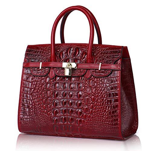 APHISON Designer Unique Crocodile Embossed Header Layer Cowhide Tote Style Ladies Top Handle Bags Handbags -Red ()