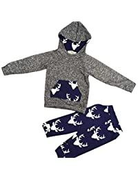 Morecome 1Set Baby Boy Girl Clothes Deer Hooded Tops Jacket +Pants Outfits