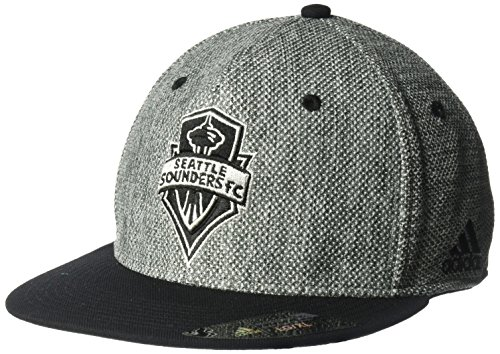 MLS Seattle Sounders Fc Men's Heathered Gray Fabric Flat Visor Flex Hat, Large/X-Large, - Flex Fit Visors