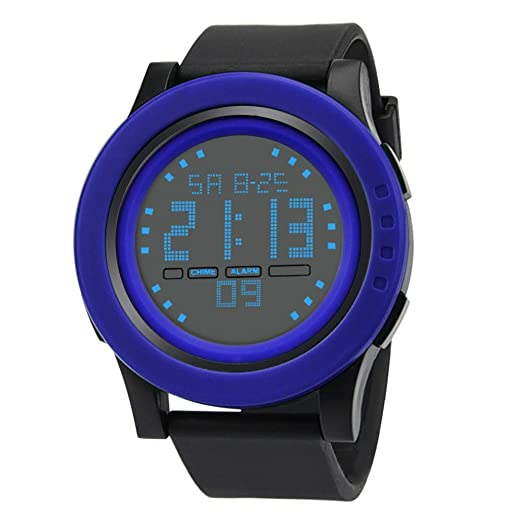 Amazon.com: Digital Watches for Men DYTA LED Sport Wrist Watches 5ATM Water Resistant Outdoor Watch on Military Quartz Watchs with Rubber Silicone Strap ...