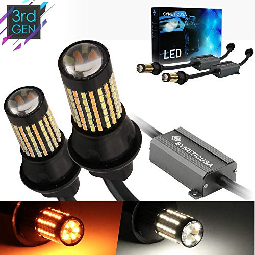 Error Free Canbus Dual Color Switchback LED Turn Signal Light Bulbs No Hyper Flash All in One Built In Resistors (Turn Signal-Amber, 7443)