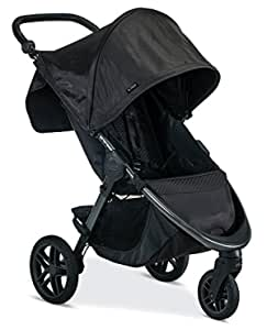 Britax B-Free Stroller | All Terrain Tires + Adjustable Handlebar + Extra Storage with Front Access + One Hand, Easy Fold + Cool Flow Ventilated Fabric - Midnight