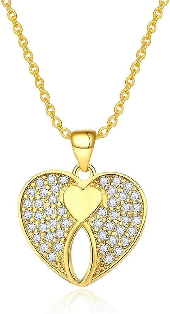 fangfanger Chapado en Oro de 24 Quilates, Collar de Amor, aretes, Colgante, Pendientes, Piedras Preciosas, Diamantes, Damas, simulación, Oro