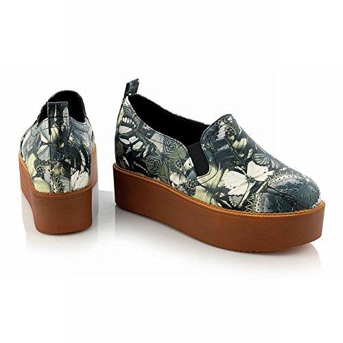 Carolbar Shoes Butterfly Print Heel Platforms Date Party Fashion Hidden Black Casual Womens 1wr1qR
