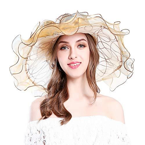 KN Accessories Women's Organza Kentucky Derby Hat Ruffles Creative Hat UV Protection Organza Mesh Hat Gold