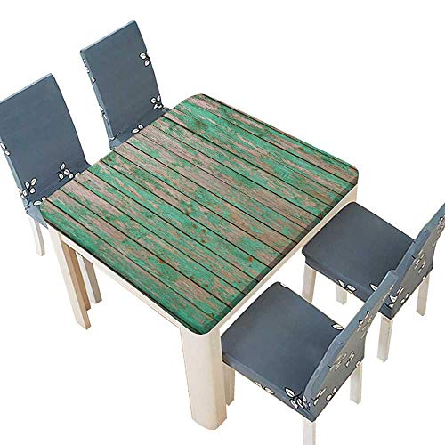 PINAFORE Polyester Cloth Fabric Cover Green barn Wooden Planking Texture Old Solid Wood slats Rustic Shabby Green Paint Home Use, Machine Washable 29.5 x 29.5 INCH (Elastic Edge)
