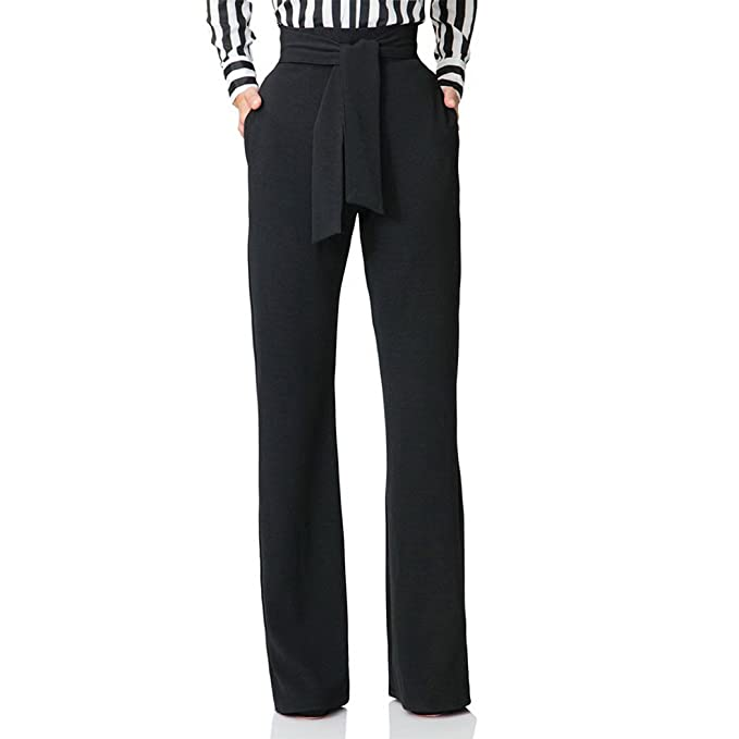 e94a6c32a Raylans Women's High Waist Long Pants Wide Leg Trousers with Belt Black S