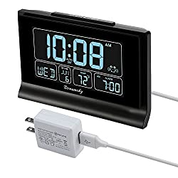 DreamSky Auto Set Digital Alarm Clock with USB Charging Port, 6.6 Large Screen with Time/Date/Temperature Display, Full Range Brightness Dimmer, Auto DST Setting, Snooze, Backup Batteries,12/24Hr.