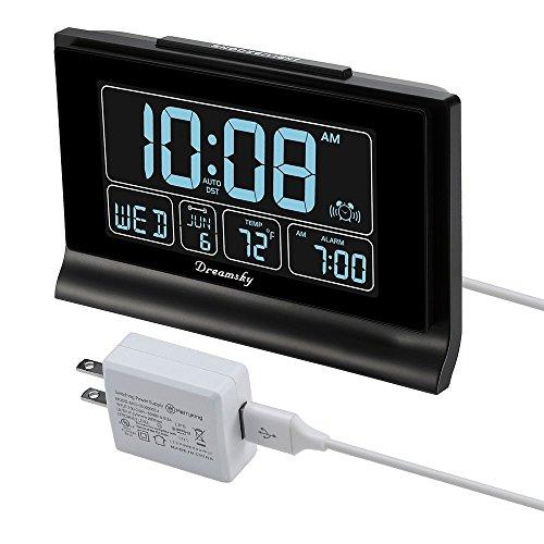 DreamSky Auto Set Digital Alarm Clock with USB Charging Port, 6.6