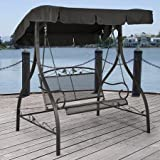 Outdoor Porch Swing Deck Furniture with Adjustable Canopy Awning. Weather Resistant Wrought Iron Metal Frame. Similar to A Porch Glider the Bench Provides Spacious Chair Seating for 2 (1) Review