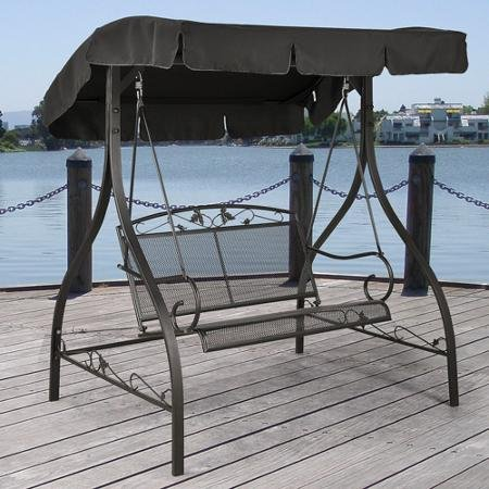 (Outdoor Porch Swing Deck Furniture with Adjustable Canopy Awning. Weather Resistant Wrought Iron Metal Frame. Similar to A Porch Glider the Bench Provides Spacious Chair Seating for 2 (1))