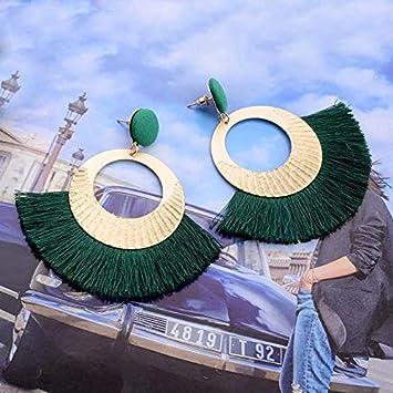 argent Kissherely Boucles doreilles de plumes de Boh/ême exquises perles ethniques color/ées boucles doreilles /à long goutte fantaisie