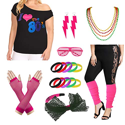 Plus Size I Love The 80's T-Shirt 1980s Pop Party Women's Costume Set (L/1X, Hot Pink) -