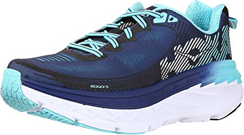 HOKA ONE ONE Womens Bondi 5 Running Shoe (10.5 D US, Medieval Blue/Blue Radiance) ()