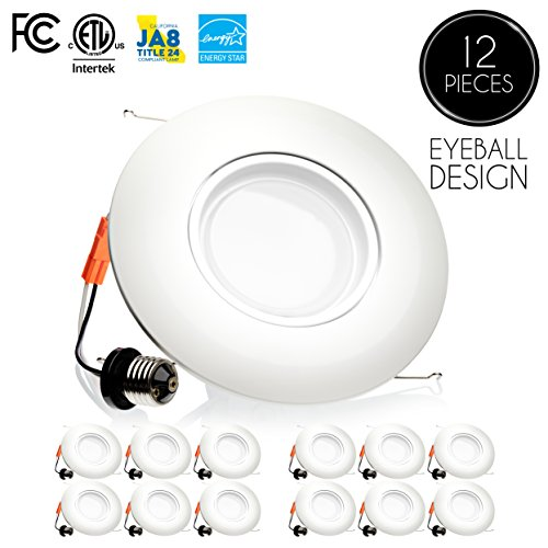 Parmida (12 Pack) 6 inch LED Adjustable Gimbal Downlight, Dimmable, 15W (120W Replacement), Rotatable Eyeball Retrofit Recessed Trim, 3000K (Soft White), 1060LM, ENERGY STAR & (White Eyeball Recessed Light Trim)