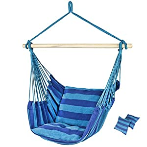 Zero Gravity Hanging Rope Hammock Chair Porch Patio Yard Swing Seat Cushion Outdoor Deep Blue #465