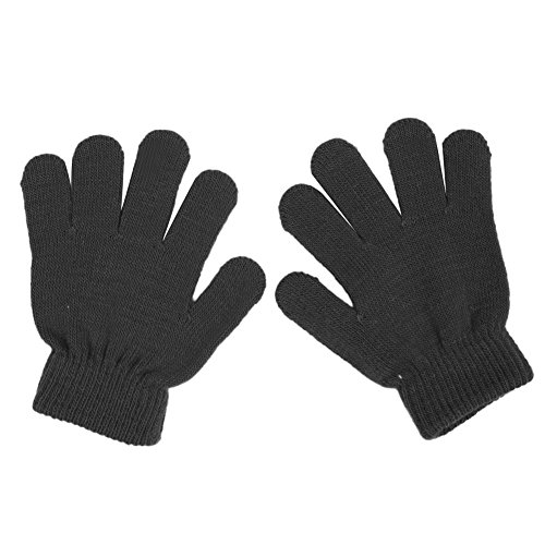 [Slaxry Winter Kids Knit Gloves Stretch Solid Colors Mittens for Baby Boys Girls (Black)] (Black Girls Gloves)