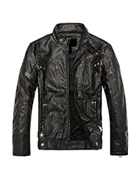 URBANFIND Men's Slim Motorcycle Coat Leather Jacket Fleece Winter Outerwear
