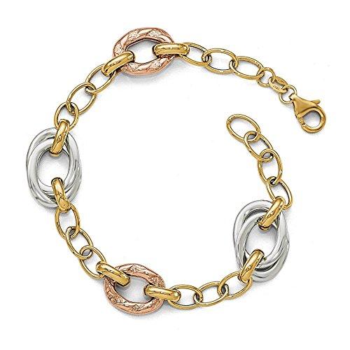 Or tricolore 14carats texturé Fancy-Bracelet Femme-Lien Poli 20cm