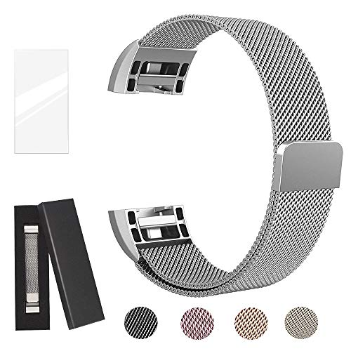 Super Vaule Metal Bands Compatible Fitbit Charge 2, Milanese Stainless Steel Metal Magnetic Replacement Wristband Small & Large Women Men (Silver, Small: 5.5 - 6.7)