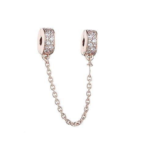 32f9cdb764dd CHICBUY - Cadena de seguridad de oro rosa para pulsera Pandora de plata de  ley 925