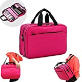 Lemoncy Travel Makeup Bag Professional 3 layer Makeup Train Case Multifunctional Cosmetic Case Organizer Portable Brush Holder for Cosmetics Toiletry Travel Jewelry Digitals Gift (hot pink)