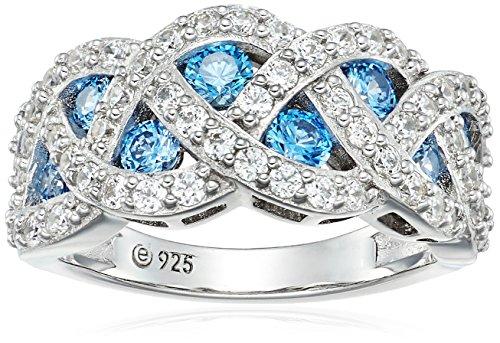 Swirl Cocktail Ring (platinum-plated sterling silver swarovski zirconia fancy blue swirl cocktail ring, size 6)