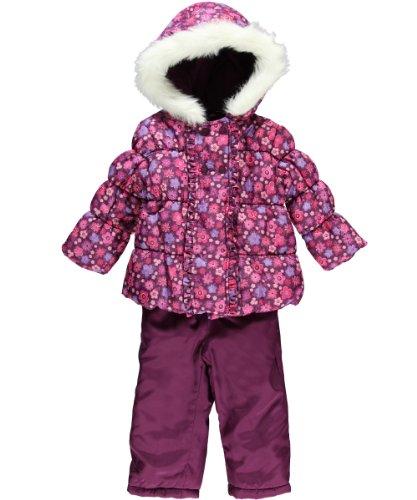 Weatherproof Infant Girls Floral Print 2Pc Snowsuit With Snow Bib (12M, Purple)