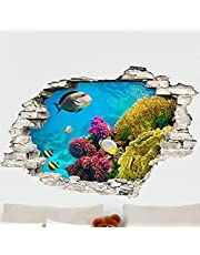 3D The Sea Bottom With Fishes Wall Sticker