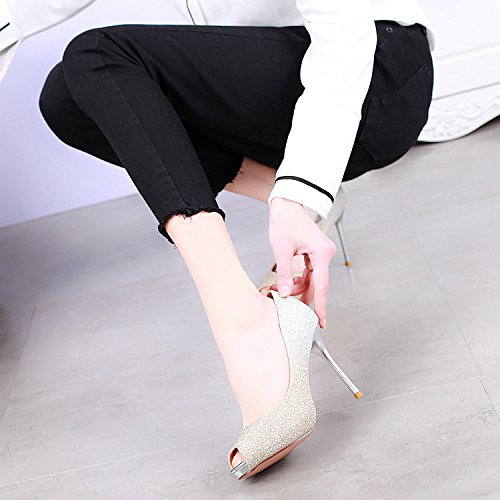 The Water Gold KPHY Women Shoes Spring Down Light New The Shoes Banquet High Pinyin Broken Heels Single 10Cm Fish Stylish By Rq74P