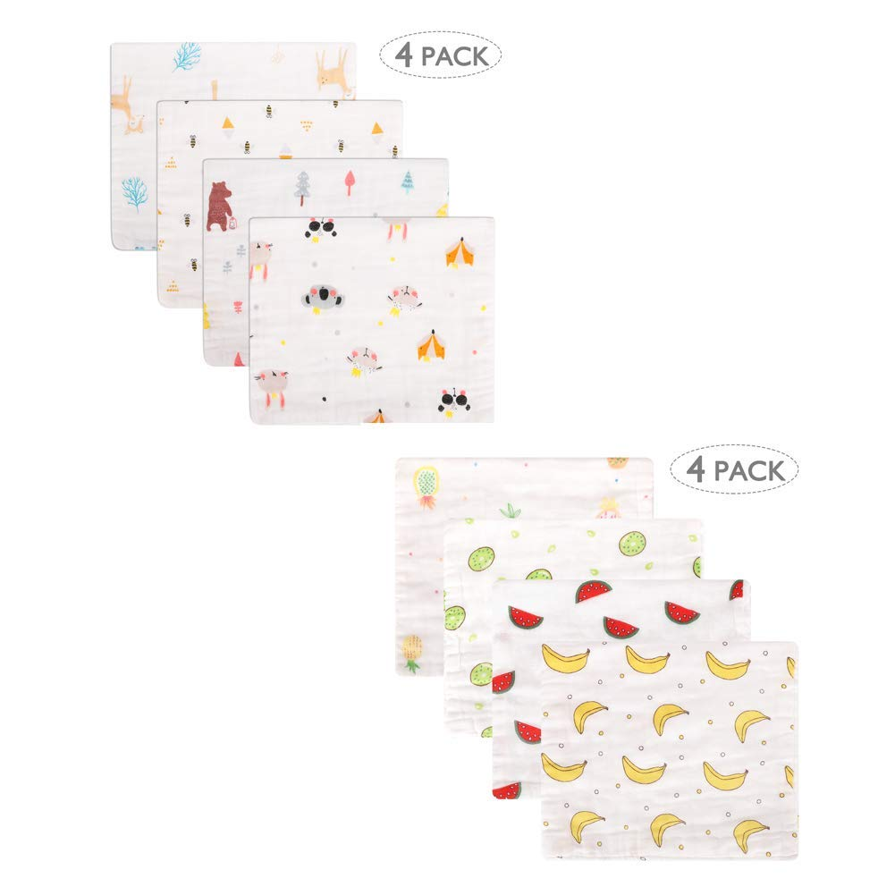 Accmor Baby Burp Cloths Bundle, Muslin Burp Cloths, Baby Burp Rags, 6 Layers Extra Absorbent and Soft Large Burp Cloths