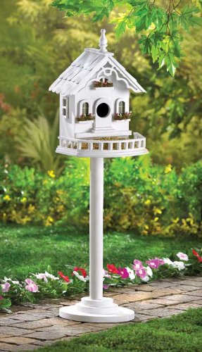 Lot of 2 Freestanding Victorian Birdhouses on Stands