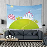 Anniutwo Cartoon Art Wall Decor Fantasy Castle on Top of The Hills and Hot Air Balloon in Sunny Sky Day Kids Art Tapestry Wall Tapestry W60 x L51 (inch) Multicolor