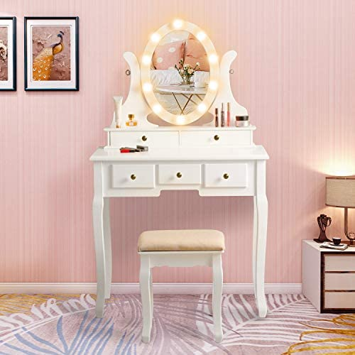 Vanity Table Set with Lighted Mirror, Makeup Dressing Table and Cushioned Stool Set with 5 Large Drawers for Women Girls White