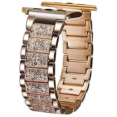 VIQIV Bling Bands for Apple Watch 38mm 40mm 42mm 44mm Iwatch Series 4 3 2 1, Diamond Rhinestone Stainless Steel Metal Bracelet Wristband Strap for Women by VIQIV