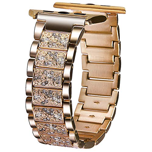 Color Gold Watch Links Crystal (VIQIV Bling Bands for Compatitle Apple Watch 40mm 44mm Iwatch Series 4, Diamond Rhinestone Stainless Steel Metal Bracelet Wristband Strap for Women)