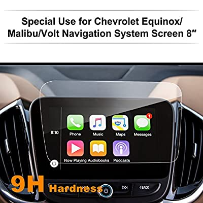 Chevrolet Volt / Malibu / Equinox 8-Inch Car Navigation Screen Protector,LFOTPP [9H Hardness] Clear Tempered Glass Center Touch Screen Protector Anti Scratch High Clarity