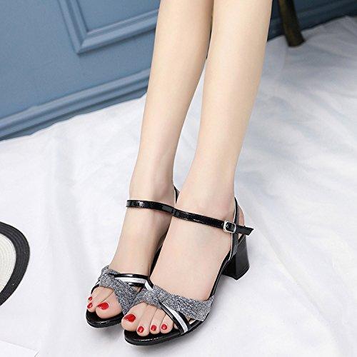 Verano Mujer zapatos de cuero Sandalia de verano boca de pescado,39 nude Black
