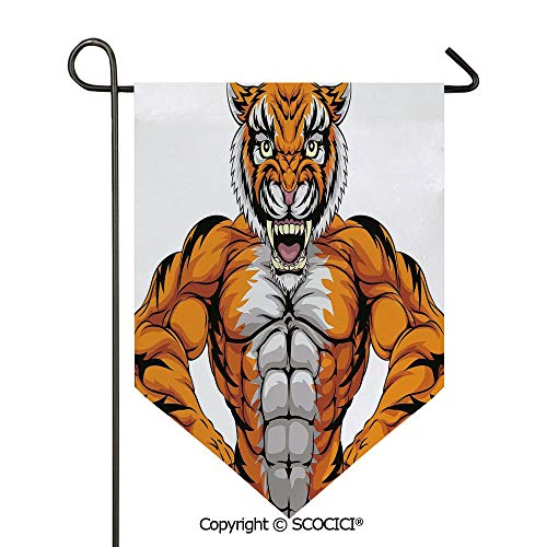 SCOCICI Easy Clean Durable Charming 12x18.5in Garden Flag Wildlife Safari African Animal Bodybuilder Tiger Cartoon Image,Marigold Light Grey and Black Double Sided Printed,Flag Pole NOT Included